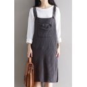 Basic Simple Plain Fashion Split Side Midi Knit Overall Dress with Single Pocket