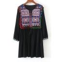 Chic Tribal Print Embroidered Pom Pom Hem Round Neck Mini Shift Dress