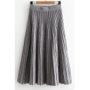 Chic Women's Plain Maxi Pleated Knitted Skirt