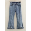 Retro High Waist Simple Plain Ripped Fringe Hem Casual Straight Legs Jeans