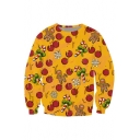 Fashion Christmas Candy Pattern Round Neck Long Sleeve Sweatshirt