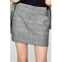 Women's Gray Plaid Mini A-Line Skirt with Two Pockets