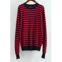Women's Color Block Striped Long Sleeve Round Neck Pullover Sweater