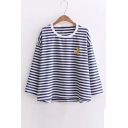 Fresh Banana Embroidered Striped Pattern Round Neck Long Sleeve T-Shirt