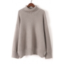 Chic Turtle Neck Long Sleeve Plain Comfortable Pullover Sweater