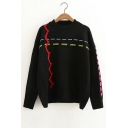 New Arrival Color Block Long Sleeve Round Neck Pullover Sweater