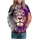 Drawstring Hooded 3D Lion Printed Long Sleeve Hoodie Sweatshirt