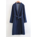 New Arrival Basic Plain Lapel Collar Long Sleeve Denim Trench Coat