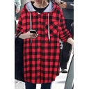 Oversize Long Sleeve Drawstring Hooded Plaid Color Block Single Breasted Tunic Coat