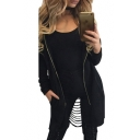 Fashion Hollow Out Back Hooded Long Sleeve Plain Zip Up Coat