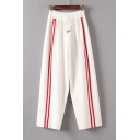 Drawstring Elastic Waist Contrast Striped Front Wide Leg Pants