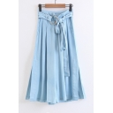 Double Rings Tied Waist Basic Plain Loose Leisure Wide Legs Culottes Jeans