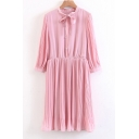 Bow Tied Round Neck Long Sleeve Simple Plain Buttons Down Midi Sashes Dress