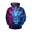 New Fashion Digital Ombre Lion Pattern Casual Leisure Unisex Hoodie