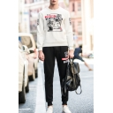 Fashion Printed Round Neck Long Sleeve Loose Sweatshirt with Sports Pants