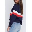 Hot Fashion Color Block Basic Round Neck Long Sleeve Pullover Sweatshirt