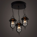 3 Light Down Lighting Indoor / Outdoor Black Lantern Style LED Pendant