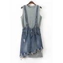 Basic Simple Plain Round Neck Sleeveless Tunic Tank with Denim Overall Skirt