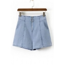 High Waist Retro Blue Plain Ring Zip Up Loose Denim Shorts with Slanting Pockets