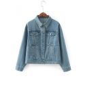 Vintage Blue Simple Plain Lapel Collar Long Sleeve Buttons Down Denim Jacket