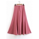Fashion Women's High Waist Plain Wide Leg Pants