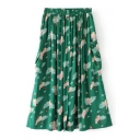 Summer's Chic Flying Birds Printed Elastic Waist Midi A-Line Skirt with Double Pockets