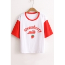 Summer Strawberry Milk Graphic Printed Round Neck Short Sleeve Tee