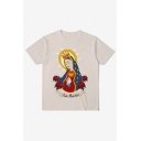 New Stylish Funny Ave Maria Pattern Round Neck Short Sleeve Pullover T-Shirt