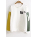 New Collection Letter Pattern Color Block Round Neck Long Sleeve Pullover T-Shirt