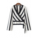 Fashion Wrap V-Neck Striped Color Block Drawstring Hem Long Sleeve Pullover Sweater