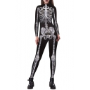 New Arrival Chic Skeleton Pattern Long Sleeve Skinny Jumpsuits