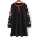 Chic Floral Embroidered Long Sleeve Round Neck Casual Mini Shift Dress