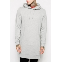 Basic Plain Long Sleeve Fashion Zip Side Loose Leisure Tunic Hoodie