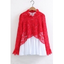 Chic Lace Inserted Round Neck Long Sleeve Color Block Pullover Blouse