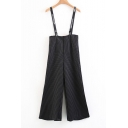 Fresh High Waist Striped/Plain Wide Leg Overall Pants