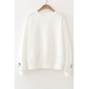 Floral Embroidered Cuffs Long Sleeve Round Neck Pullover Sweatshirt