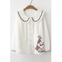 Cute Embroidery Clock Peter Pan Collar Long Sleeve Button Down Shirt