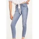 High Waist Simple Plain Fashion Beaded Embellished Side Skinny Jeans