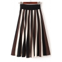 Chic High Waist Striped Color Block Maxi Skirt