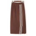 Fall Winter Collection Striped Split Maxi Knitted Skirt