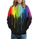 Fashion Digital Color Block Painted Long Sleeve Unisex Hoodie