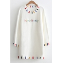 Embroidery Keep Happy Letter Pattern Round Neck Long Sleeve Tunic Pullover Sweater