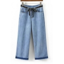 Fashion Fringe Hem Simple Plain Loose Wide Legs Jeans with Belt