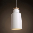 Industrial Pendant Light with Cylinder Shade in Black and Wood Finished