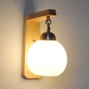 Industrial Mini Wall Sconce with Wood Base
