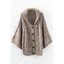 Fashion Cable Knit Folded Collar Bat-Wing Sleeve Plain Buttons Down Cardigan