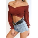 Summer's Hot Fashion Sexy Off The Shoulder Puff Long Sleeve Plain Cropped Blouse
