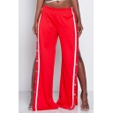 New Collection Hot Fashion Sexy Buttons Split Side Wide Legs Loose Pants
