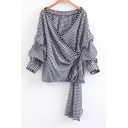 Chic Pearl Embellished Trim Wrap Plunge Neck Long Sleeve Plaids Printed Blouse