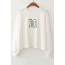 Simple Numbers Printed Round Neck Long Sleeve Casual T-Shirt